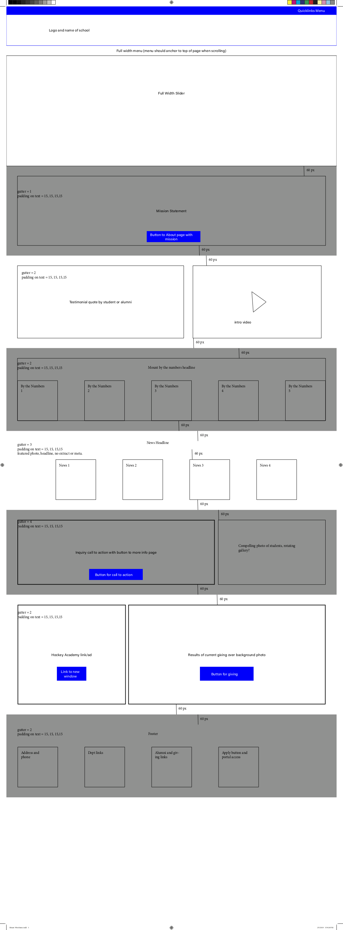 Mount Wireframe – homepage