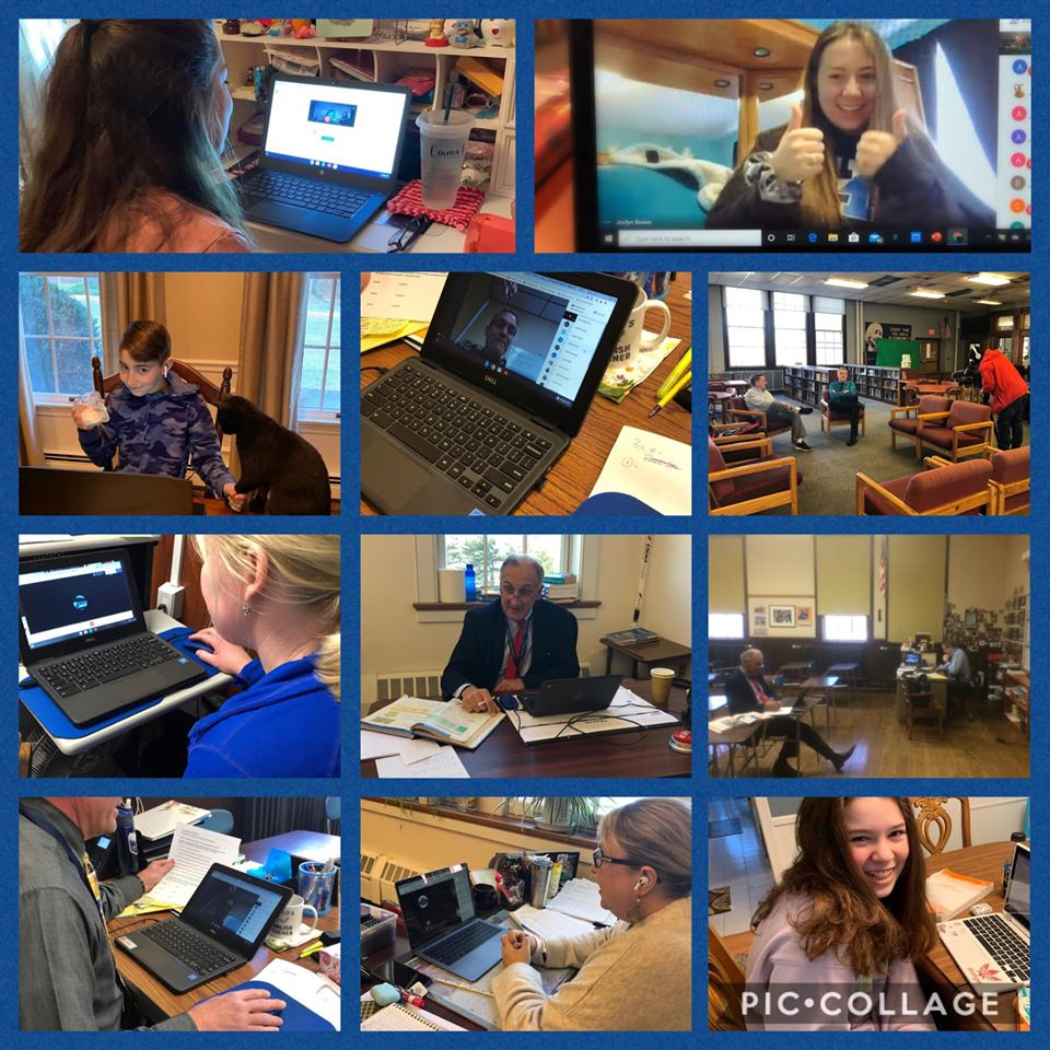 Students and teachers in virtual classrooms at Mount Saint Charles